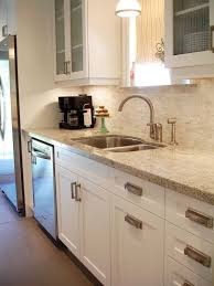 White Kitchen Cabinets Granite Countertop White Galley Galley