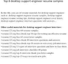 Resume Format For Desktop Support Engineer Desktop Support Engineer Resume Objective Here Are Specialist Format