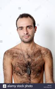 Hairy bare chested men