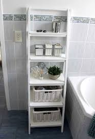 Bathroom, : Engaging Space Saving Small Bathroom Decoration With White  Ladder Bathroom Shelf Including Light Charcoal Tile Bathroom Wall And Blue  Florida ...