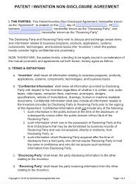 Nda Template For Startup Free Patent Invention Non Disclosure Agreement Nda Pdf