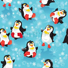 cute penguin christmas backgrounds.  Christmas Seamless Pattern With Funny Penguins And Snowflakes On Blue Icy Background  Design For Winter Christmas Or New Year Themes  Stock Vector Colourbox Intended Cute Penguin Backgrounds I
