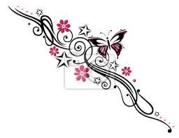 Fototapeta Tetování Blumen Blüten Butterfly Růžová Rosa