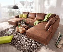 Couch Silas Braun Antik Optik 300x200 Cm Ottomane Rechts Designer Wohnlandschaft