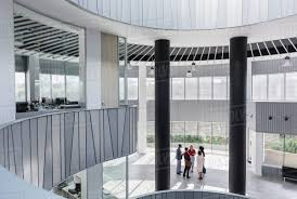 modern office architecture. Business People Talking In Architectural, Modern Office Atrium Architecture E
