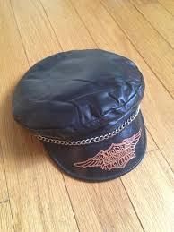 sick leather thread leather cap black leather vintage harley davidson biker wear