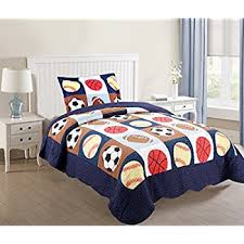 Amazon.com: Twin Size 2 Pcs Quilt Bedspread Set Kids Sports ... & MarCielo 2 Piece Kids Bedspread Quilts Set Throw Blanket for Teens Boys Bed  Printed Bedding Coverlet Adamdwight.com