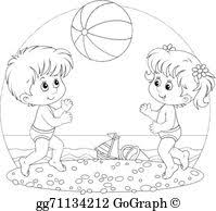 kids at the beach clipart black and white.  Beach Summer Time  Children Play A Ball For Kids At The Beach Clipart Black And White C