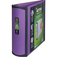 Better 3 Inch Slant D 3 Ring View Binder Purple 20246
