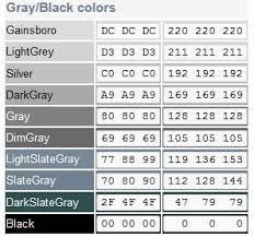 Shades Of Grey Color Chart Shades Of Grey Color Chart