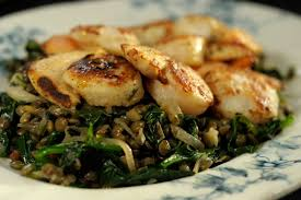 scallops with lentils and spinach s sbs au food recipes scallops lentils and spinach