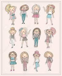 漫画の女の子ファッション子供たちかわいい女の子とファッショナブル