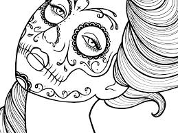 Recolor Coloring Pages Beautiful Sugar Skull Maiden Colouring Page