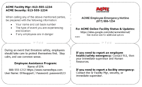Emergency Card Template Emergency Contact Card Template