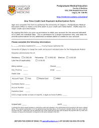 Credit Card Authorization Form Terms