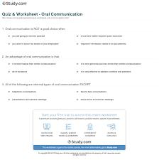 quiz worksheet oral communication com print oral communication definition types advantages worksheet