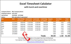 Free Excel Time Card Calculator With Lunch And Overtime Ontheclock
