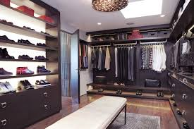Spectacular Walk In Closet Design Ideas With Brown Polished Open Closet  Concepts Added Shoes Racks And Clothes Bar Also White Benches Inspirations