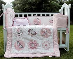 4 item baby girls bedding set embroidery character crib bedding set pink cot bedding set quilt per cushion pillow kids boys bedding quilts for boys beds
