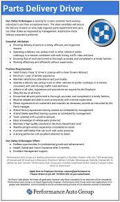 Comely Auto Parts Delivery Driver Job Description Resume Cv Cover