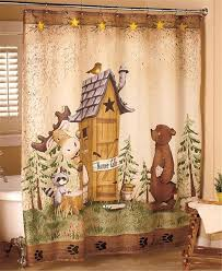 nature calls outhouse bear moose rustic cabin lodge bathroom shower curtain