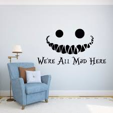 alice in wonderland wall decal vinyl sticker quotes were all art decals sayings uk mad  on alice in wonderland wall art quotes with art wall art sayings decals alice in wonderland wall decal vinyl