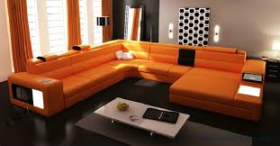 modern couches for sale. Hot Sale Modern Orange Sofa Set Large Size U Shaped Villa Couches Real Leather With Cabinet Bookself Home Furniture Sofas-in Living Room Sofas From For H