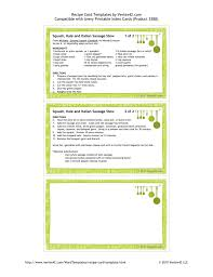 Index Card Recipe Template Recipe Template 3x5