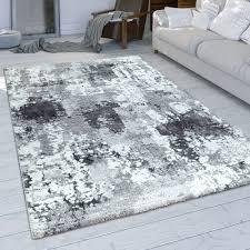 Kurzflor Teppich Used Look Grau Weiß