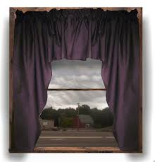solid eggplant purple colored swag window valance optional center piece available