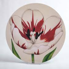 round melamine table mat cream striped tulip