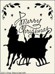 Merry Christmas - D-Merry Christmas - D sled sleigh horse stencil carriage