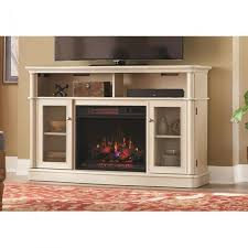 tv stand infrared bow front electric fireplace in antique white