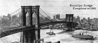「1883 the Brooklyn Bridge over the East River is opened, connecting the great cities of New York and Brooklyn」の画像検索結果