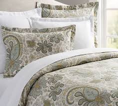 blue charlie paisley organic cotton patterned duvet cover sham pottery barn