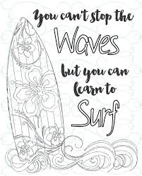 Small Picture Adult Inspirational Coloring Page printable 03 Learn to Surf