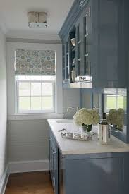 Amazing Blue Butleru0027s Pantry Design With Visual Comfort Lighting Basil Flushmount  Light As Well As High Gloss Blue Cabinets Paired With White Marble  Countertops And ...