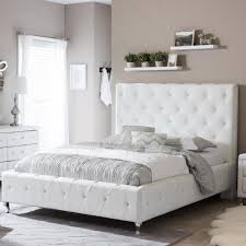 baxton studio stella transitional white faux leather upholstered queen size bed