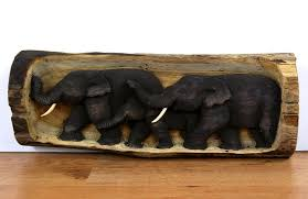 wooden wall hanging elephant relief