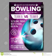 Bowling Event Flyer Bowling Poster Vector Sport Event Announcement Club Banner