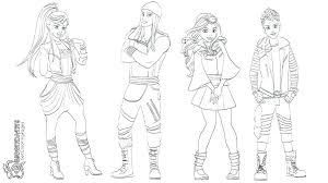 Disney Descendants Mal And Evie Coloring Pages Descendants 2