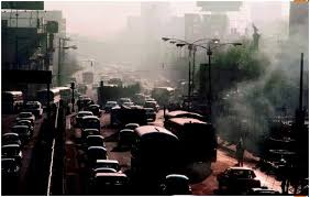 vehicular pollution water effects environmental pollutants  during the morning rush hour the miguel hidalgo area of city is clogged