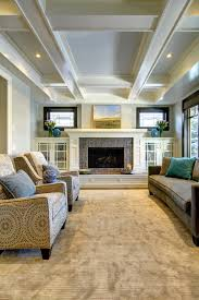 craftsman style fireplace family room craftsman with coffered ceiling built ins