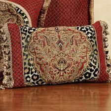 Temara Damask Leopard Print Comforter Bedding & Temara Tasseled Rectangle Pillow Multi Warm Rectangle Adamdwight.com