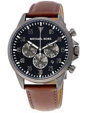 michael kors mens watch gunmetal new michael kors men s gage gunmetal chronograph brown leather watch mk8536