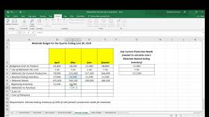 Budget Excel Managerial Accounting Excel Template And Formulas For Master Budget Severson