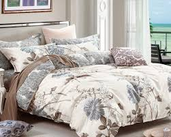 swanson beddings daisy silhouette fl print 3 piece 100 cotton bedding set duvet cover and two pillow shams king com