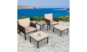 5pcs rattan patio furniture set chairs