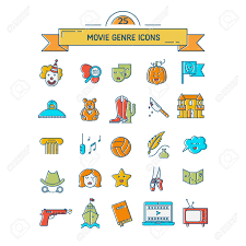 Film Genres Vector Set Of Movie Genres Line Icons Isolated On White Background