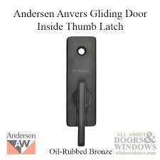 andersen frenchwood gliding door thumb latch anvers inside lock oil rubbed bronze